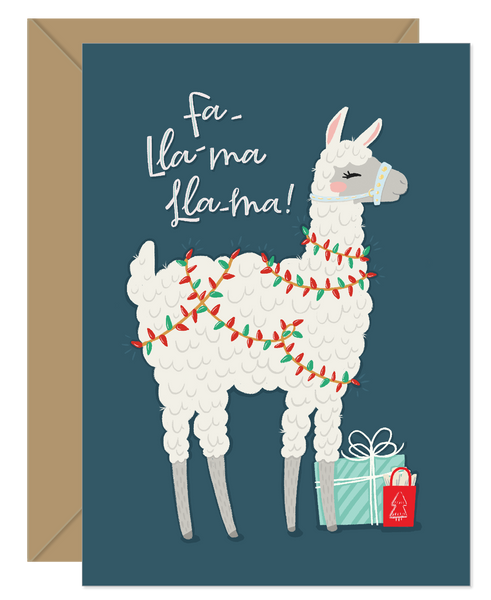 Fa-Lla-ma-Lla-ma Funny Pun Holiday Card