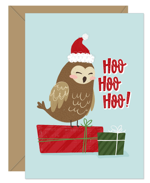 Hoo Hoo Hoo Owl Funny Pun Holiday Card