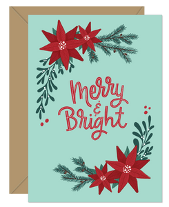 Merry And Bright Poinsettia Holiday Card