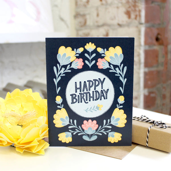 Dark Blue Folksy Floral Birthday Card