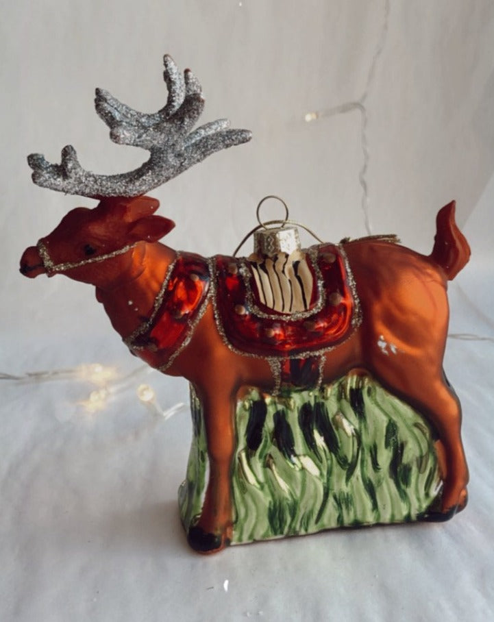 Blown Glass Reindeer Ornament