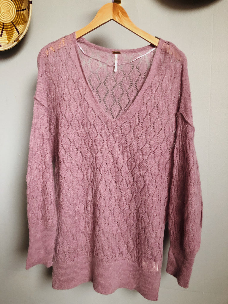 Free People Knit Tunic in Lilac, XL