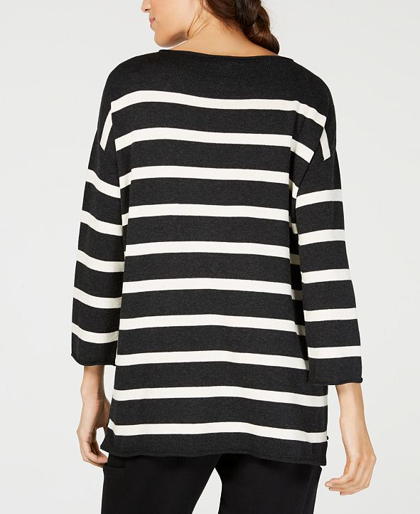 Eileen Fisher Sweater in Black + White Stripe, XS