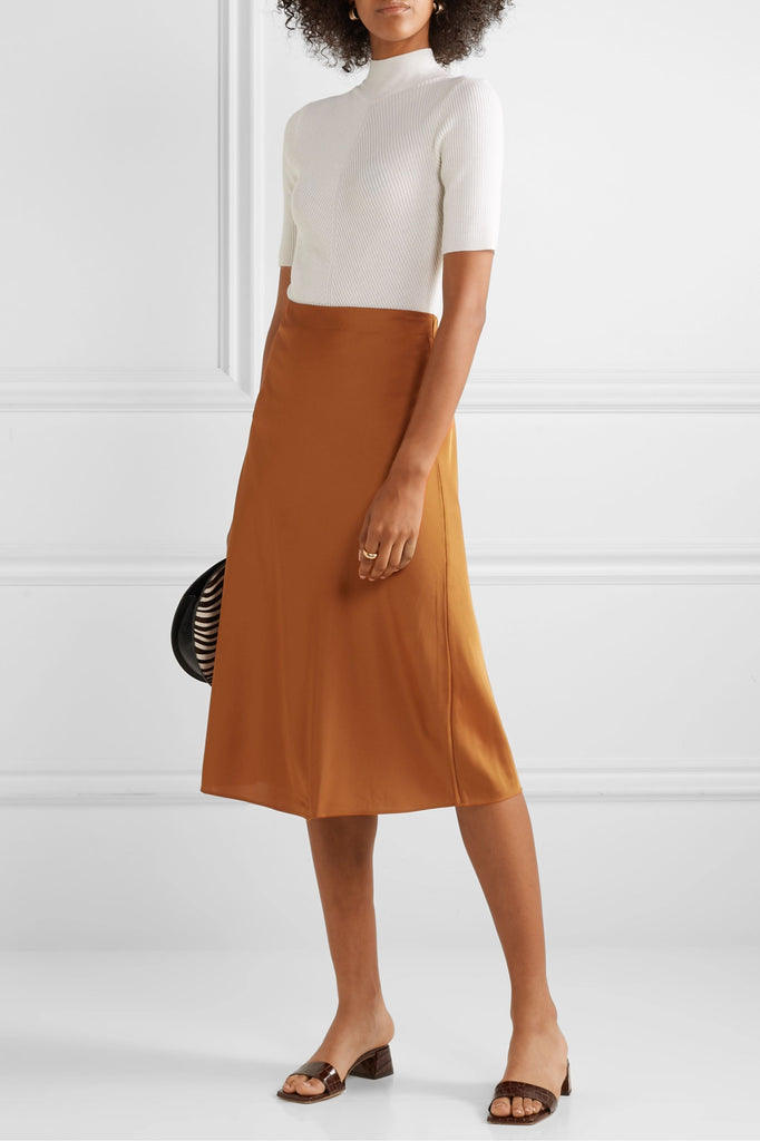 J Crew Marco charmeuse midi Skirt in Gold, S