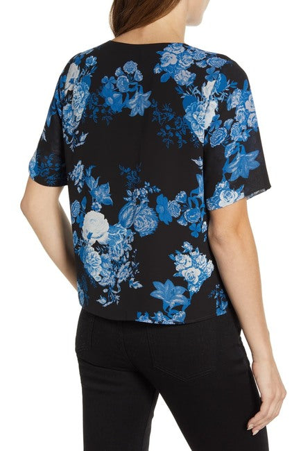 Vince Camuto Cabbage Rose Toile Blouse in Black, XS