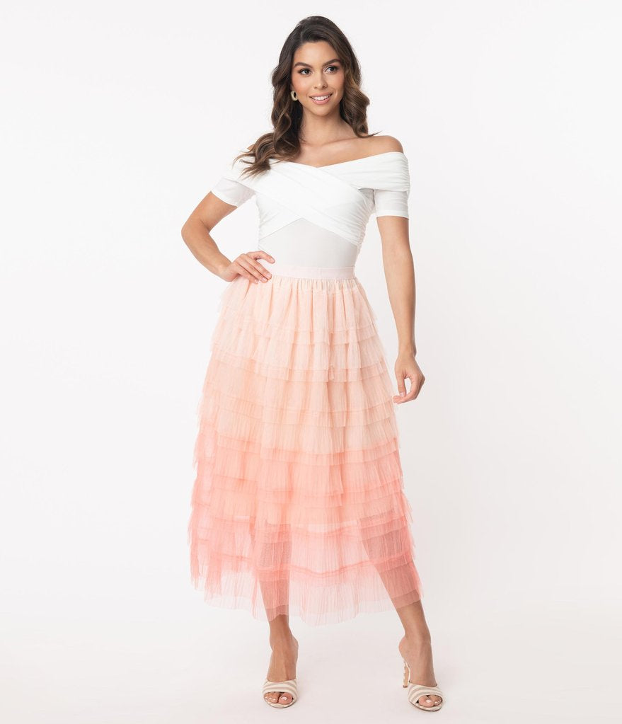 Hayden Tiered Ombre Tulle Midi Skirt in Pink