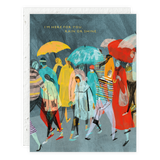 Rainy Day Crowd Greeting Card