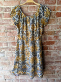 Blue/Gold Lucky Brand Peasant Dress, M