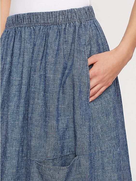 Eileen Fisher Midi Skirt in Chambray, S