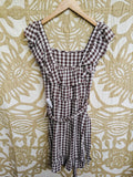 Topshop Gingham Pinafore Dress in Brown