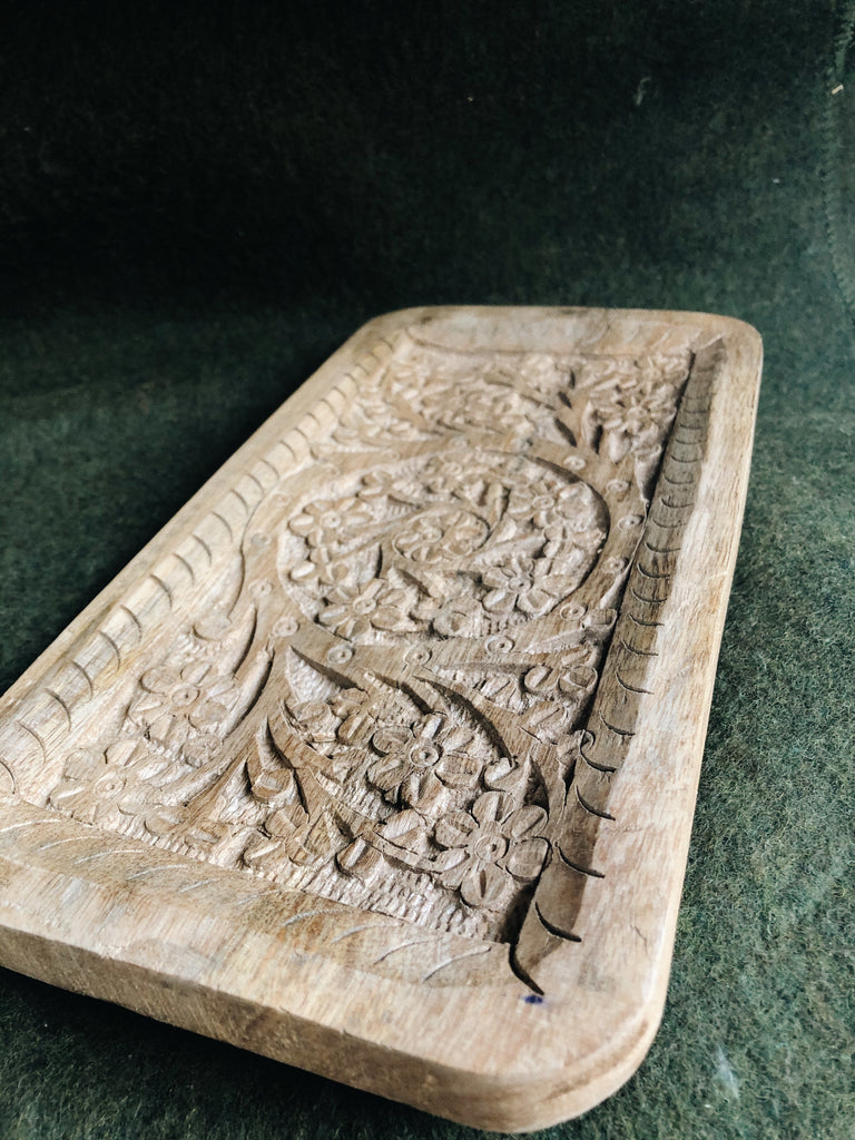 Mango Wood Hand-Carved Wood Tray, S