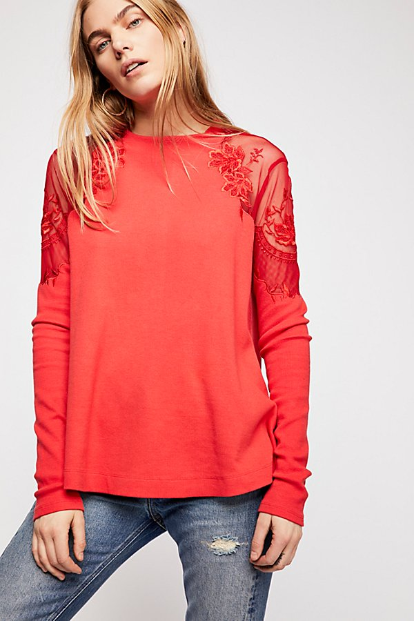 Free People Daniella Embroidered Illusion Top, L