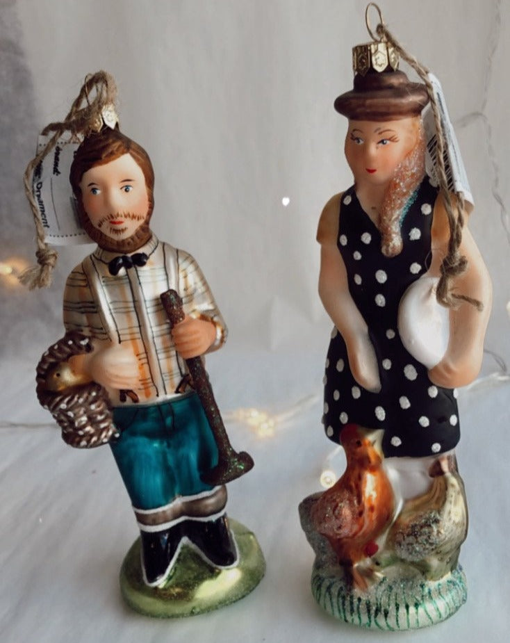 Blown Glass Folksy Couple Ornament