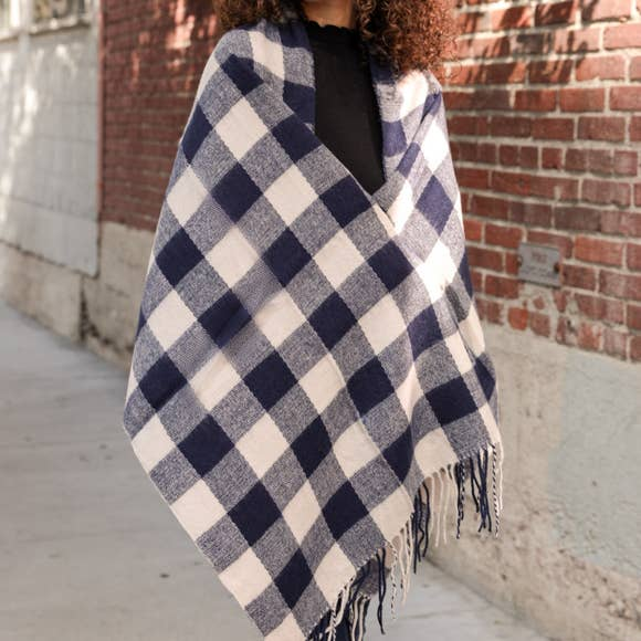 Buffalo Check Western Scarf in Navy