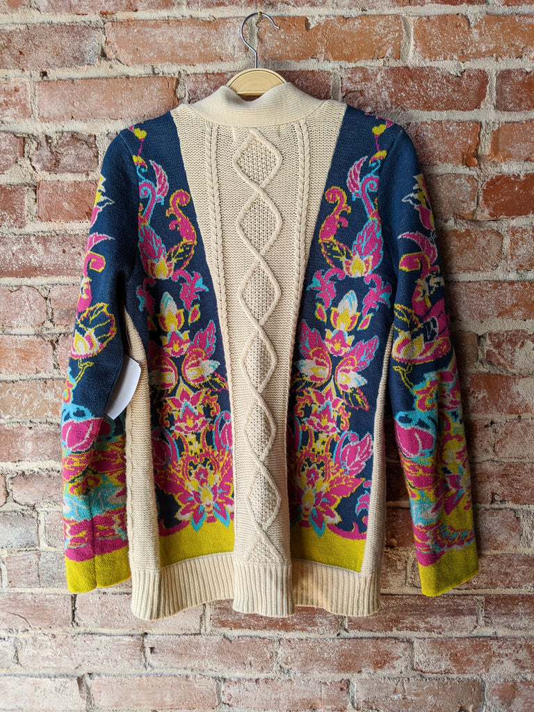 Cream/Blue Flying Tomato Cardigan, L