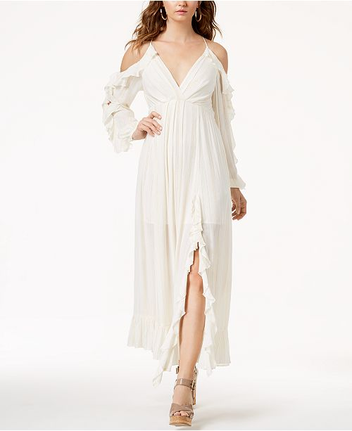 Guess Kellye Ruffled Cold-Shoulder Maxi Dress in Ivory, S