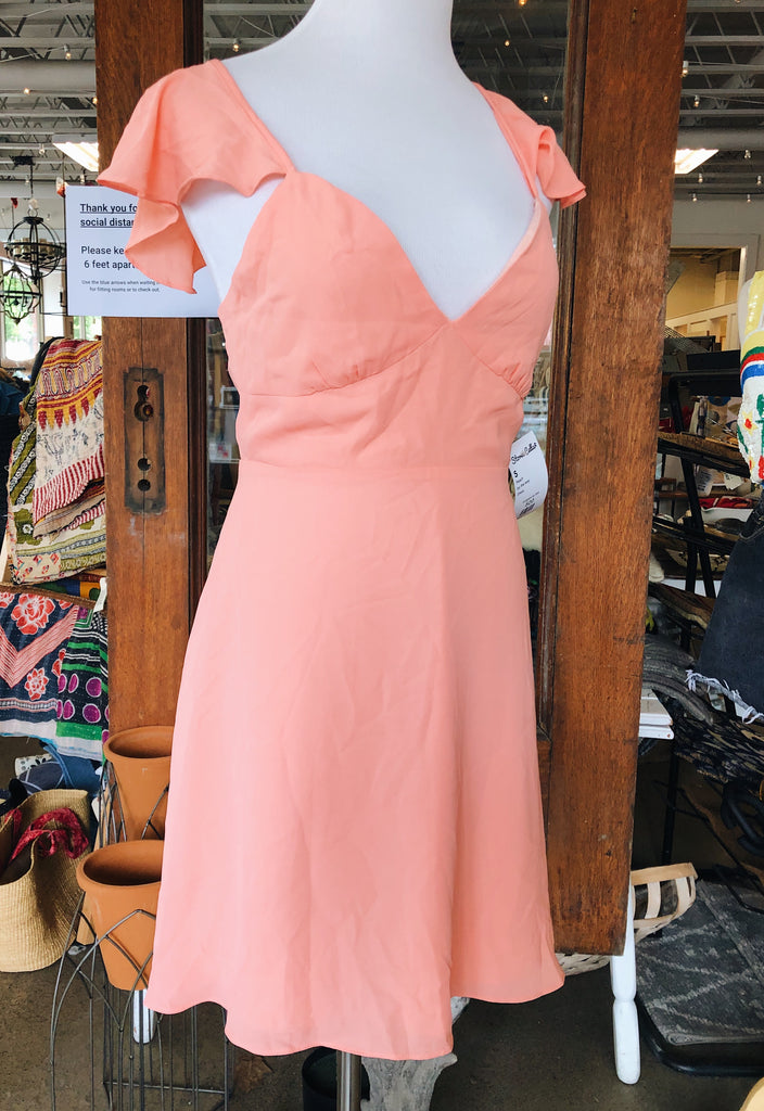 By the Way Noleen Chiffon Dress In Peach Chiffon, S