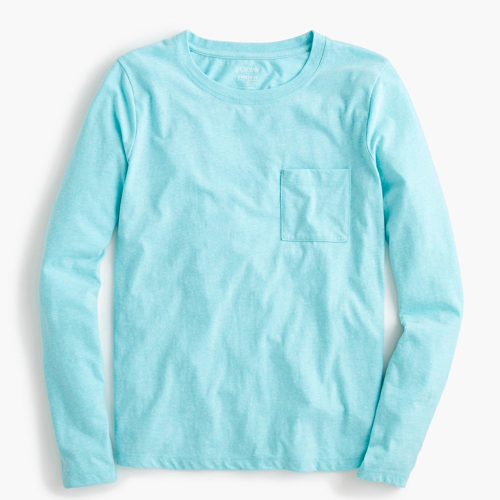 J Crew Essential Pocket Tee in Seaglass, S
