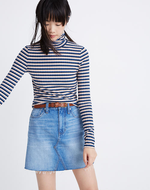 Madewell Ribbed Turtleneck Top in Blue Stripe, XL