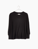 Madewell Brushed Rib Pleat-Sleeve Top, L