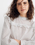 Madewell Ruffle Top in Flocked Dot, M
