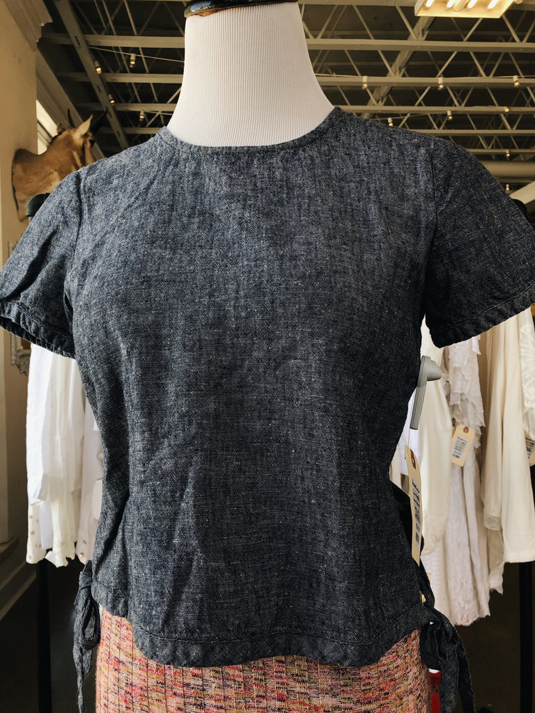 Madewell Cropped Linen Top in Chambray, XS