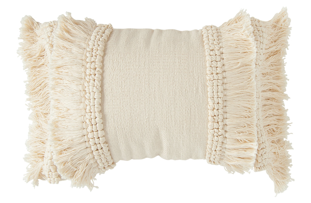 Neutral Fringe Lumbar Pillow