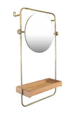Metal Wall Mirror with Wood Shelf