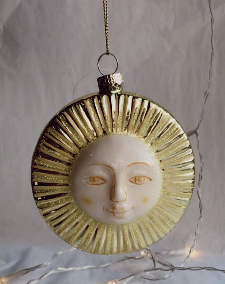 Blown Glass Hand Painted Blissful Sun Ornament
