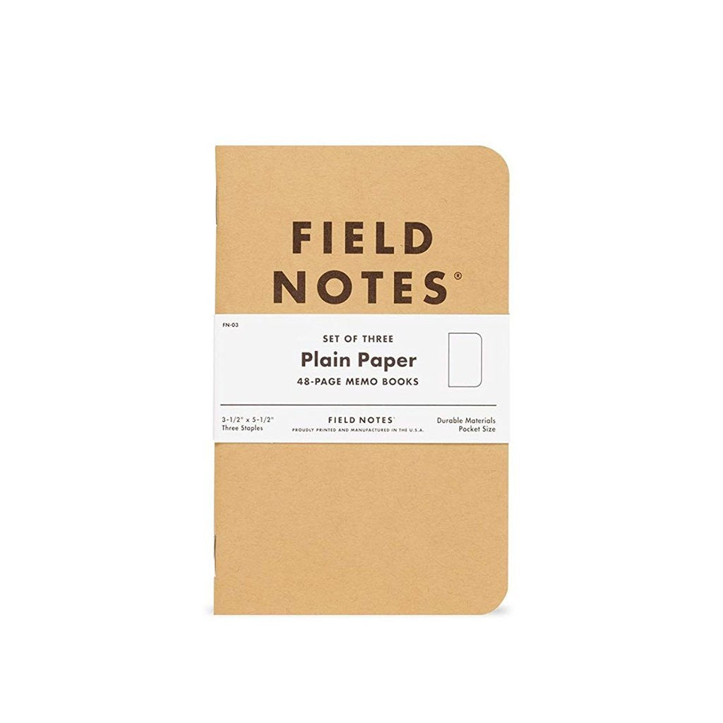 Tan Field Notes Plain Paper Notebook, Set of 3