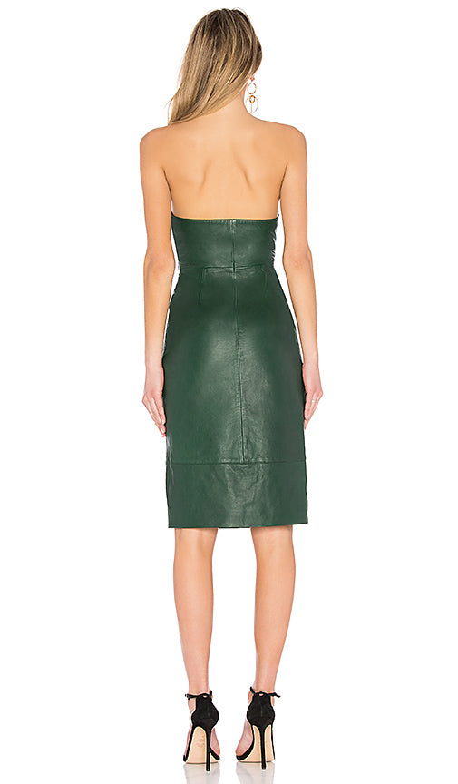 h:ours Doria Leather Dress in Forest Green, M