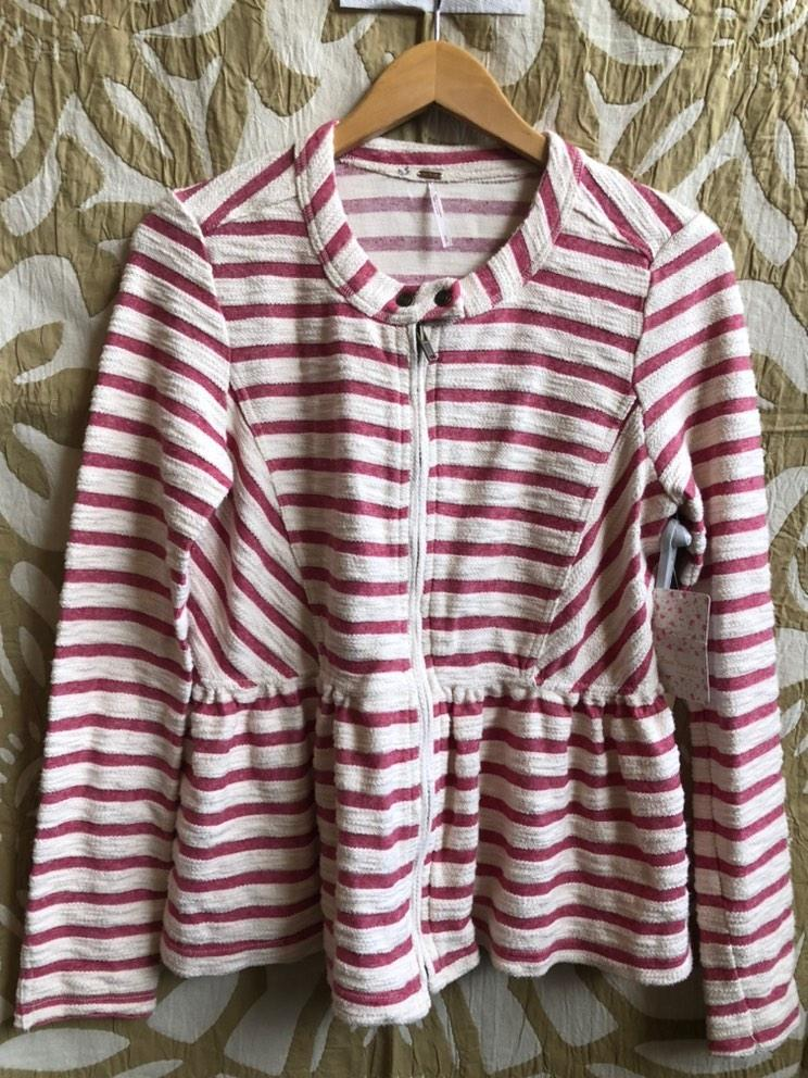 Pink/White Free People Jacket, S