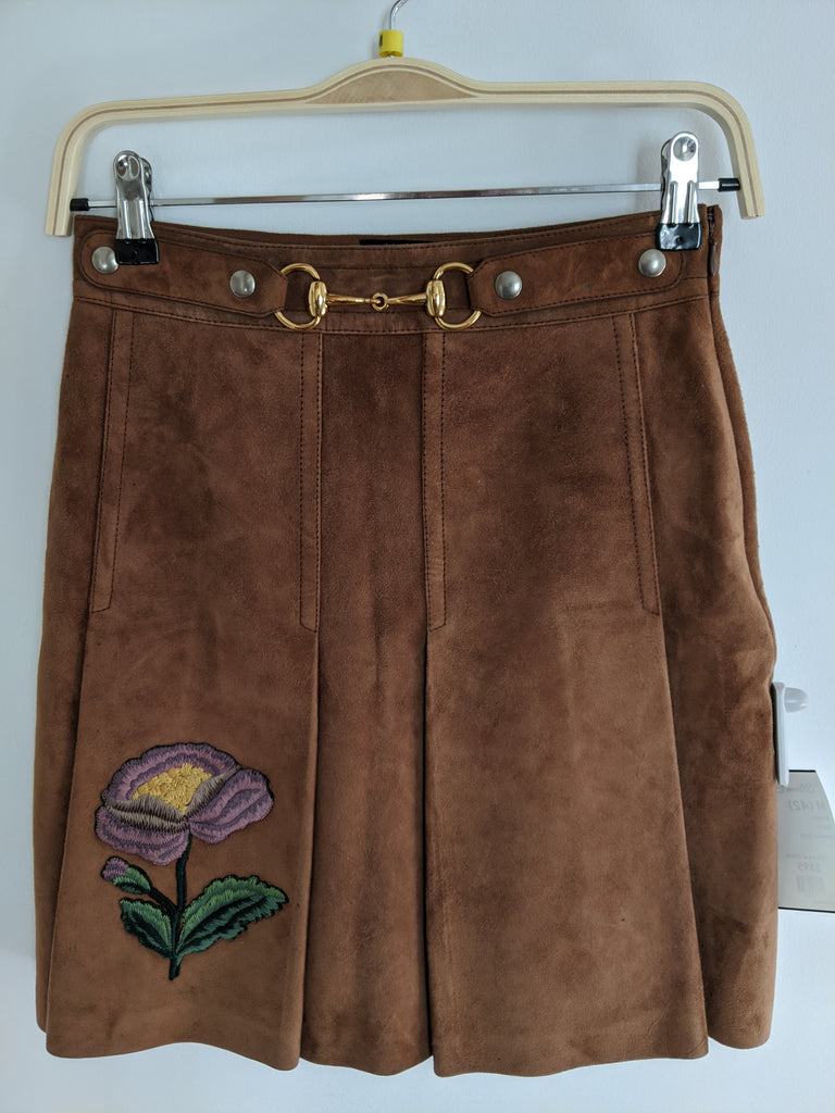 Gucci Embroidered Suede Mini-Skirt, M (42)