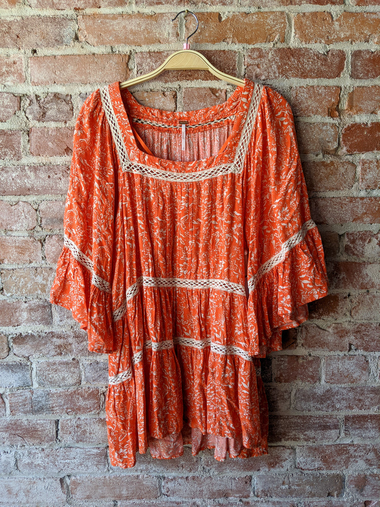 free people Talk About It Tunic in Poppy, S