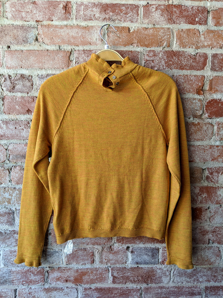 free people Ruffled Mock-neck Sweater in Marigold, XS