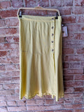 free people Flounced Midi Linen Skirt in Citron, S
