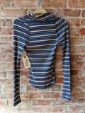 free people Stripe Cowl Neck Thermal, S