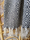 Diamond Zigzag Black & Ecru Throw Blanket