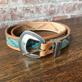 Vintage Southwestern Tooled Leather Belt, 31""