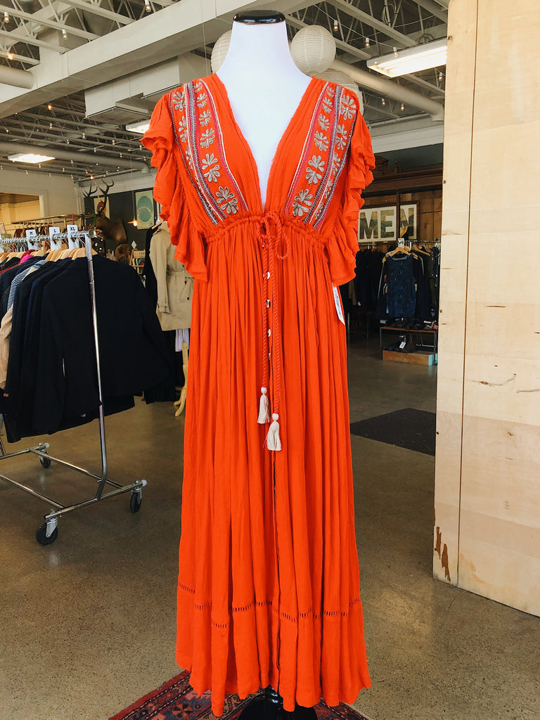 free people Bali Will Wait For You Midi Dress in Coral Red, M