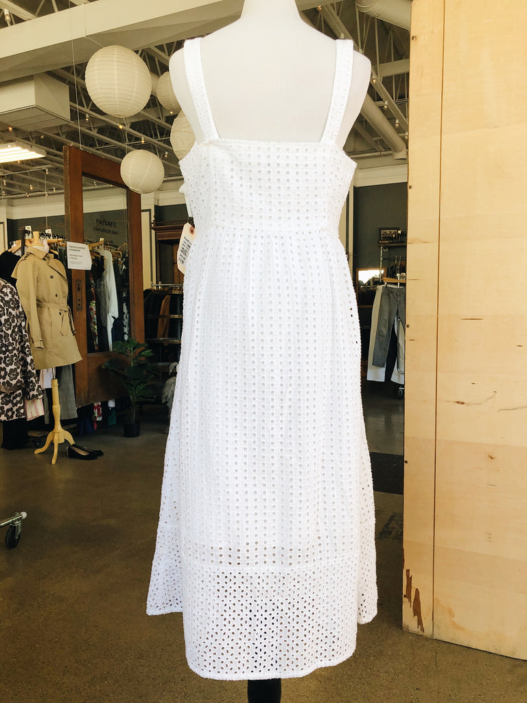 J Crew Button Up Dress in White, M