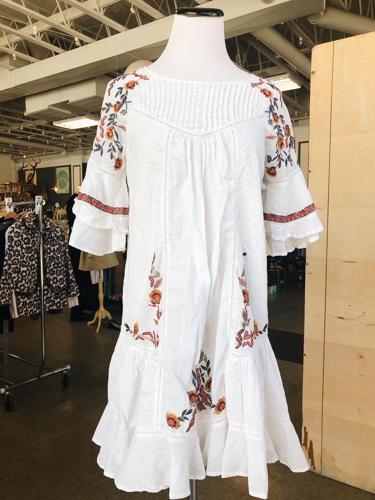 Free People Embroidered Pavlo Dress in White, S
