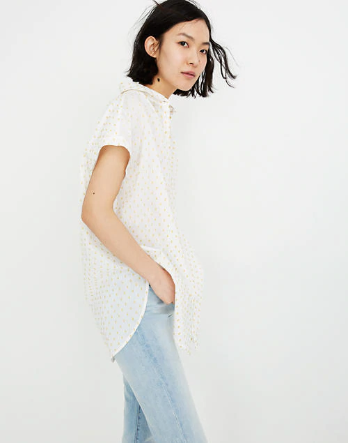 Madewell Central Tunic Shirt in Yellow Dot, XXS