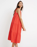 Madewell Cattail Tiered Dress in Poppy, M