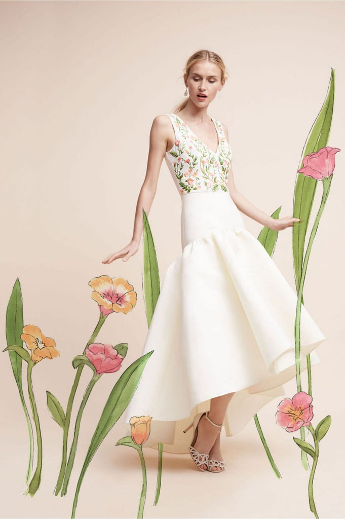 Marchesa Notte Embroidered Gown in Cream, XXS