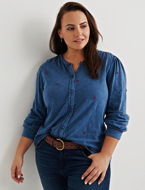 Lucky Brand Washed Indigo Embroidered Shirt, 1X