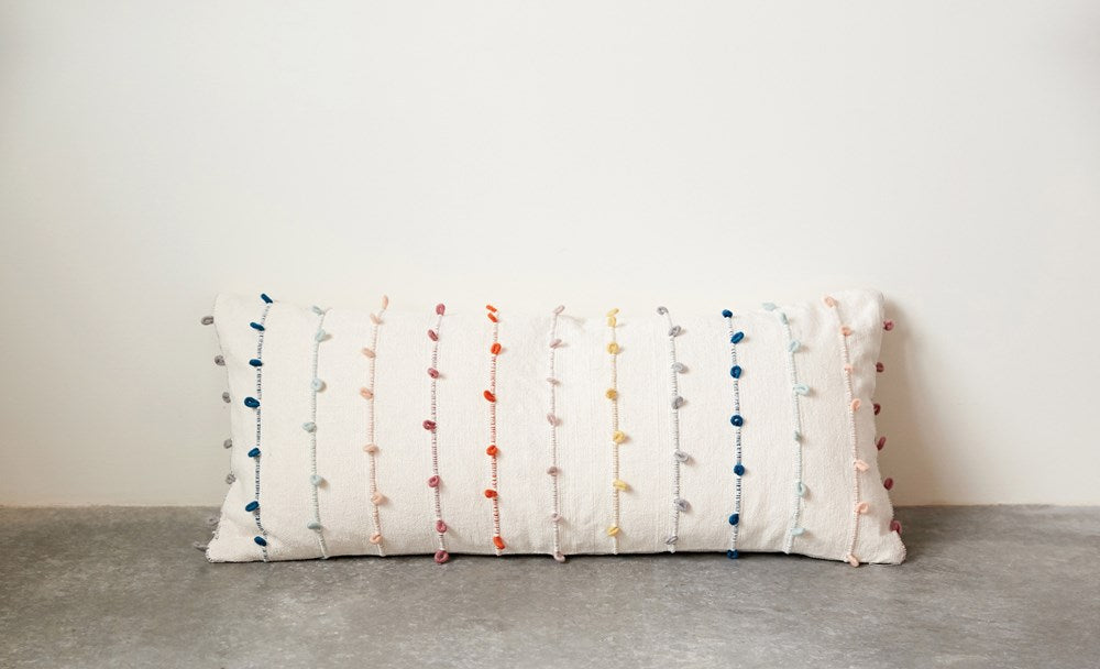 Rainbow Embroidery Loop Pillow