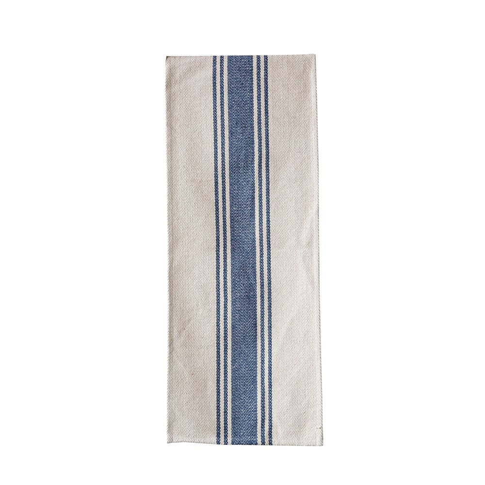 Cotton Canvas Table Runner with Blue Stripe