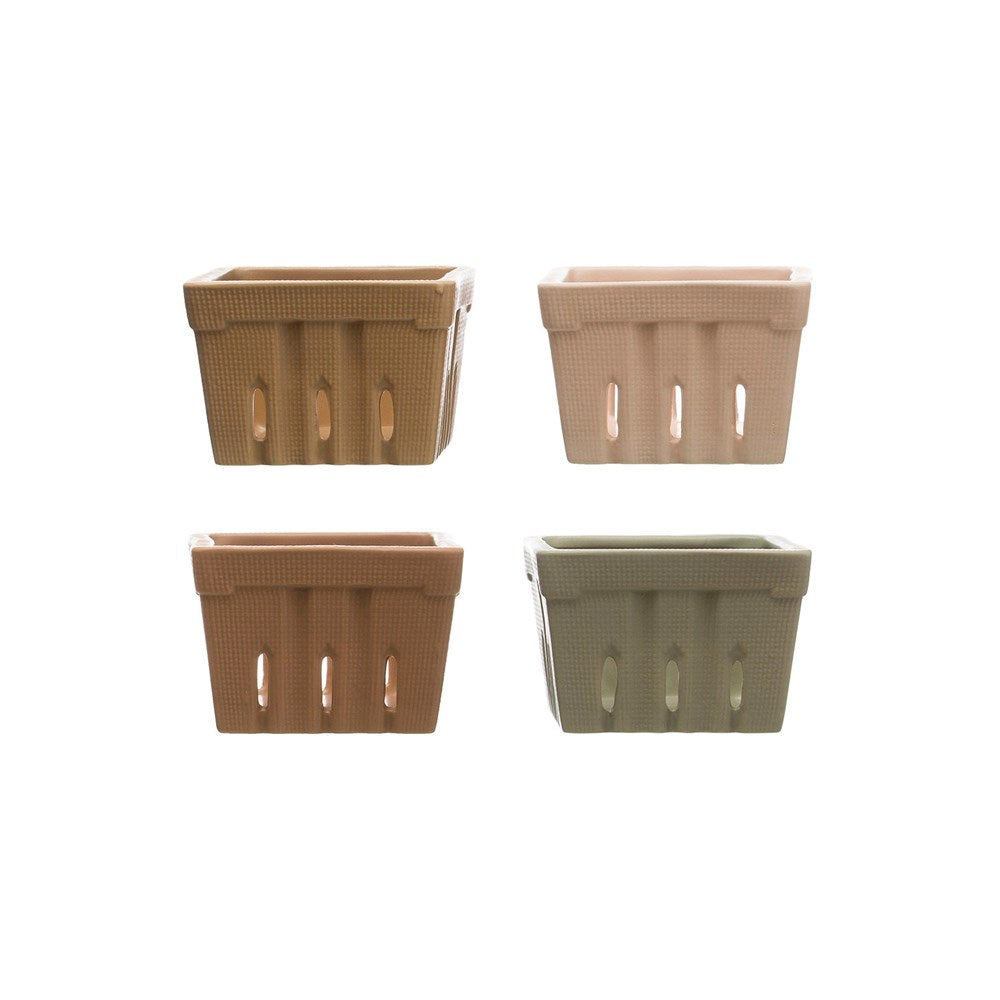 Stoneware Berry Baskets, Set of 4 in Mineral