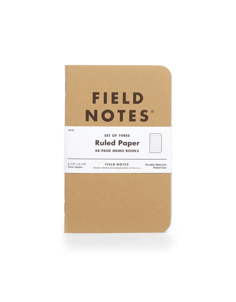 Tan Field Notes Ruled Notebook, Set of 3